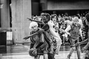 National Senior Games basketball competition: The Silver Slammers vs. A League of Their Own. Birmingham, Alabama, June 2017