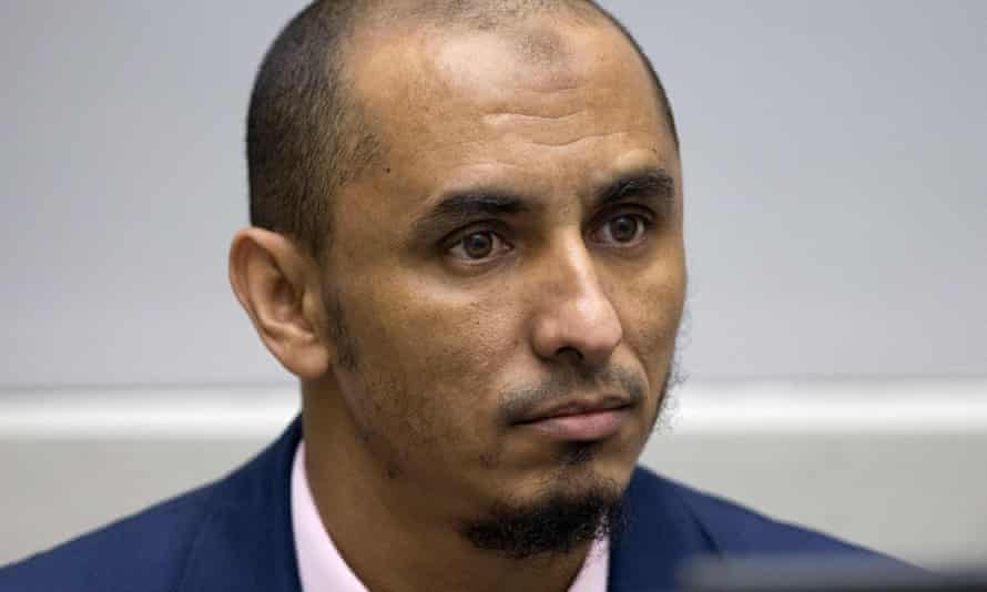 Al Hassan Ag Abdoul Aziz Ag Mohamed Ag Mahmoud appearing at the International Criminal Court in the Hague.