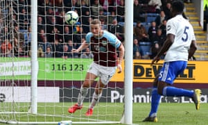 Chris Wood heads home his, and Burnley's second goal of the game.