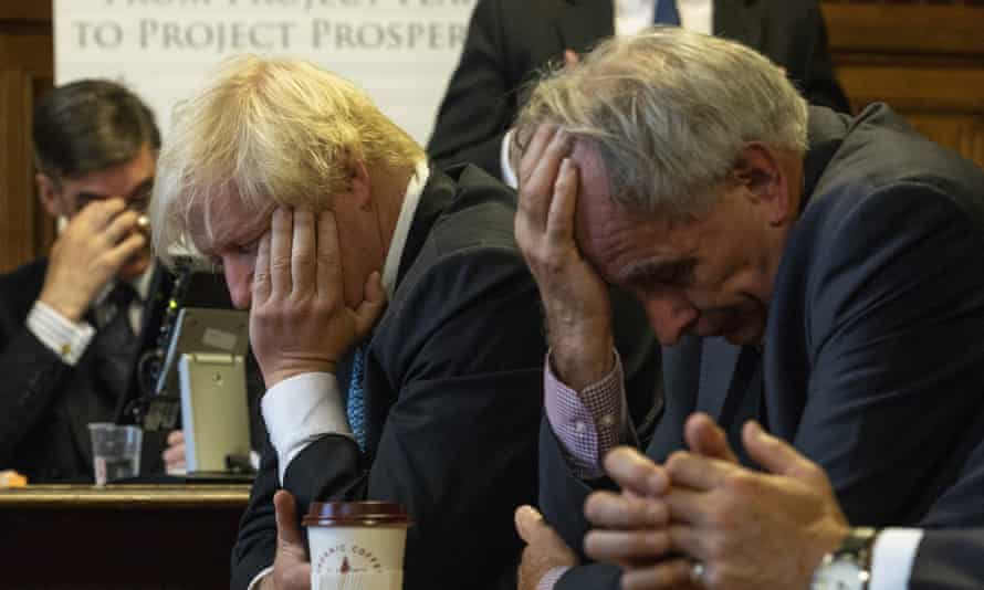 Jacob Rees-Mogg, Boris Johnson and Peter Bone at the launch of what they called an alternative to May's plan in September 2018.