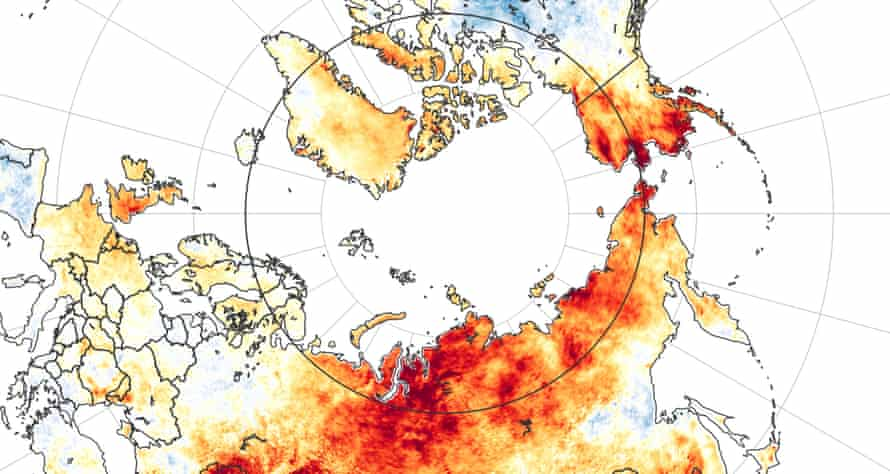 An image from Nasa shows temperature anomalies from 19 March to 20 June this year. Red shows areas hotter than average compared to the same period from 2003 to 2018.