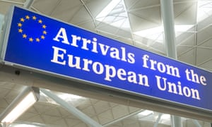 Arrivals from the European Union sign at the exit to Stansted Airport, England