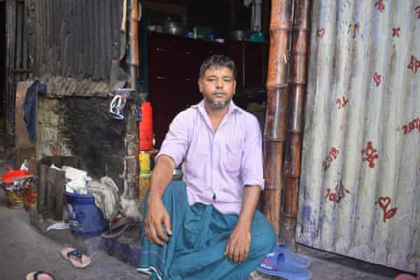 Rickshaw rider Habibur Rahman in front of his shack. He cooks, eats and sleeps in his one room. He has now spent 30 thirty years in the Kalyanpur slum of Dhaka.
