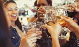Women drinking in bar