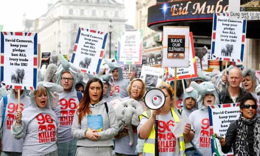 Maria Mossman leading the Global March for Elephants and Rhinos in London, March 2016.