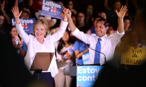 "Hillary Clinton and Julián Castro during a ""Latinos for Hillary"" rally in San Antonio, Texas 15 October 2015."