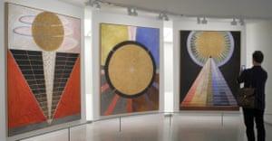 Group X, No 2, Altarpiece, Group X, No 3, Altarpiece and Group X, No 1, Altarpiece (left to right) by painter Hilma af Klint (1862-1944) hanging in the Guggenheim.