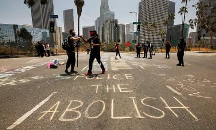 A Black Lives Matter protest in Los Angeles, on 23 June 2020.