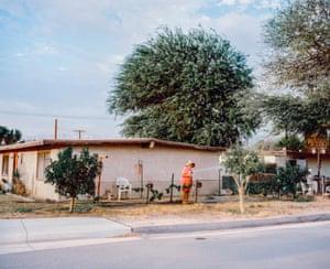 Woman watering a sidewalk tree. Indio, California, USA, 2015