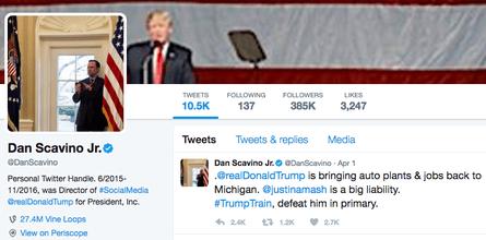Dan Scavino Jr's personal Twitter homepage.