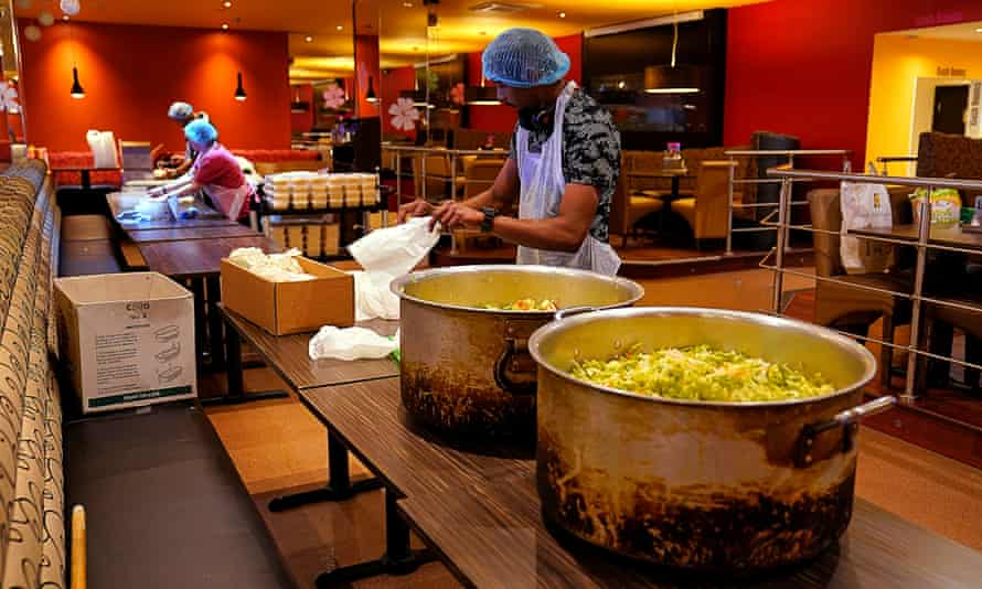 Volunteers pack freshly prepared meals for the NHS staff in Leicester.