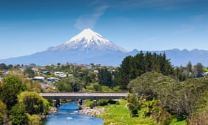 Mount Taranaki and in the foreground the Waiwhakaiho River and city of New Plymouth.