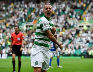 Leigh Griffiths celebrates after scoring the seventh goal.