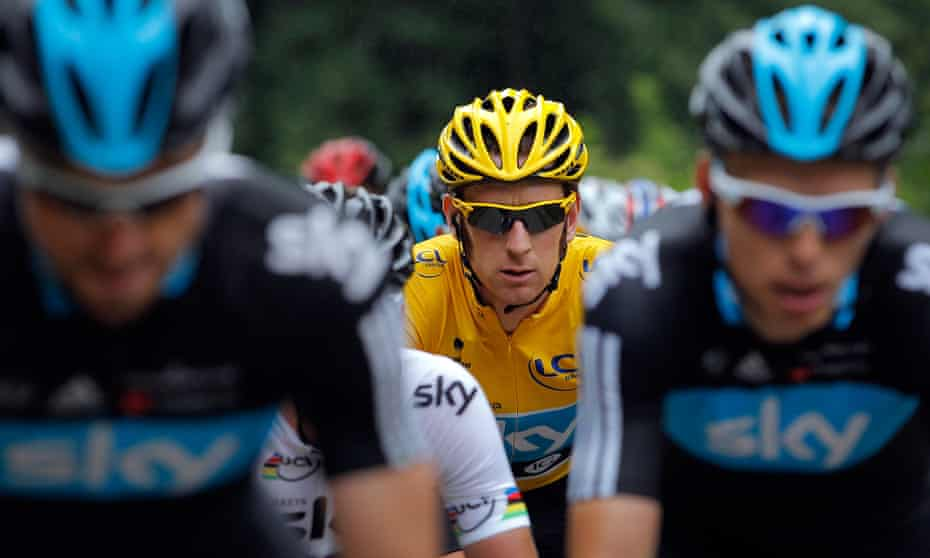 Bradley Wiggins climbs the Port de Lers on his way to winning the Tour de France in 2012.