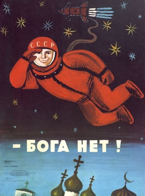 A poster showing a cosmonaut walking in space and saying: 'There is no god.' By Vladimir Menshikow, 1975