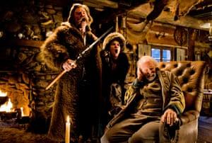 Leaky ... Kurt Russell, Jennifer Jason Leigh and Bruce Dern in The Hateful Eight.