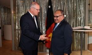 Scott Morrison greets the prime minister of Papua New Guinea, Peter O'Neill in Sydney on 1 November.