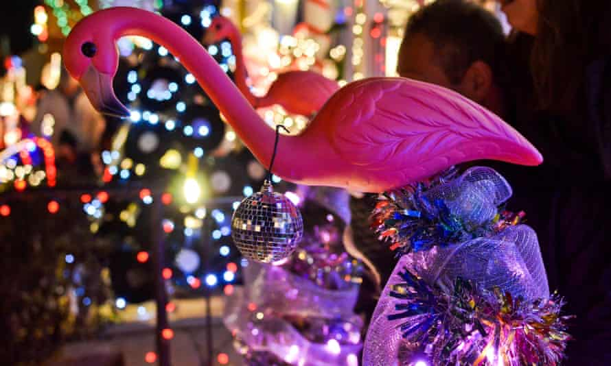 A pink flamingo lawn ornament adorned with a disco ball for the winter holidays. Thanks to John Waters' film Pink Flamingos, the bird has become a symbol of Baltimore kitsch.