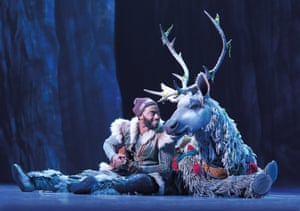 Jelani Alladin and Andrew Pirozzi in Frozen: The Musical on Broadway.