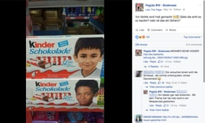 Pegida's post on Facebook showing two of the Kinder chocolate bar wrappers.