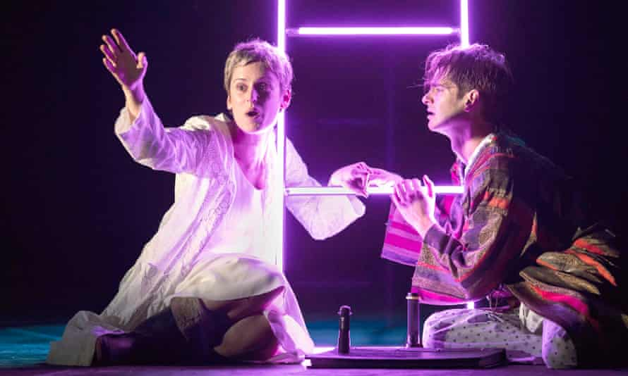 Denise Gough (Harper) and Andrew Garfield (Prior) in Angels in America.