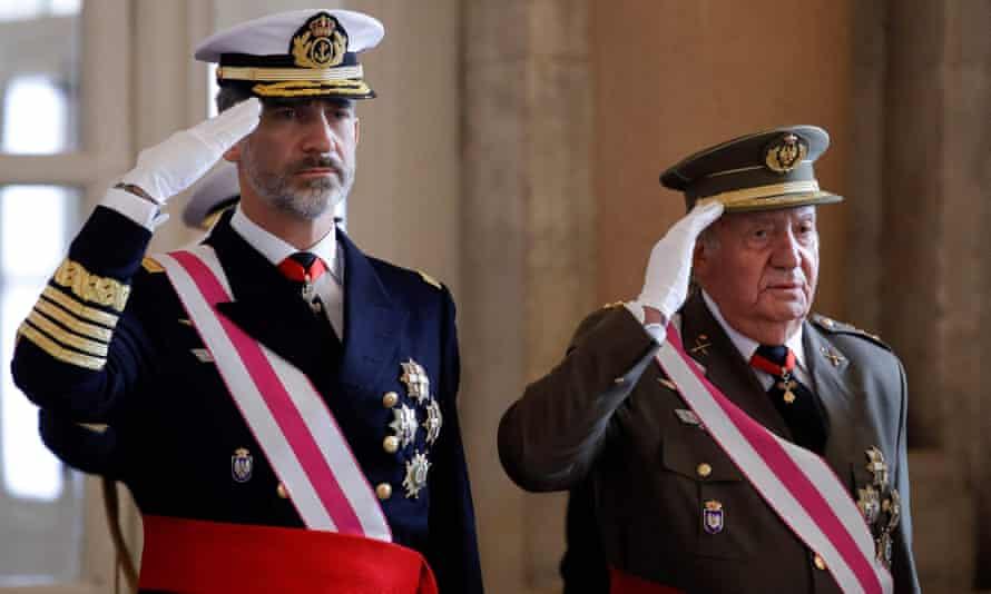 Spain's King Felipe VI and his father King Emeritus Juan Carlos I
