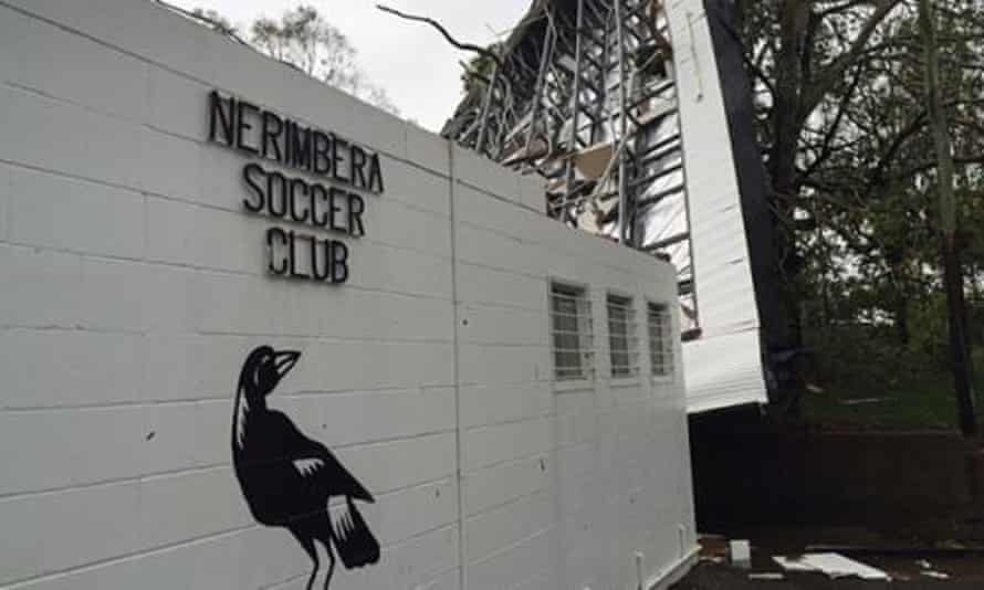 A photo of the damage to Nerimbera Magpies' clubhouse.