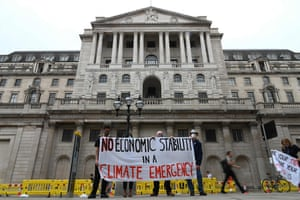 Climate protesters outside the Bank of England this morning