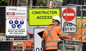 Signage for Sydney light rail contractor Acciona seen at a worksite in Sydney, Australia, 13 April 2018.
