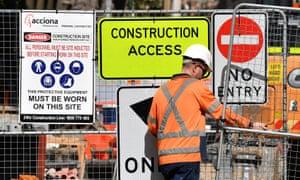 Acciona sign on Sydney light rail construction site