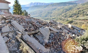 A collapsed building in L'Aquila after the strong earthquake in central Italy today.