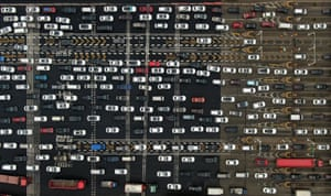 Nanjing, ChinaAerial view of vehicles queuing at a toll station during the Chinese new year travel rush. The 40-day travel rush starts from 21 January and lasts until 1 March