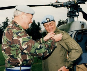 The Duke of Westminster receiving his army wings from the chief of the general staff, General Sir Michael Walker, after executing a perfect helicopter landing into Netheravon airfield, Wiltshire.