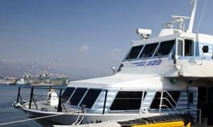 A high-speed jetfoil ferry to Sado island.