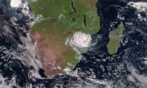 A satellite image of Cyclone Idai tracked over Mozambique on 15 March