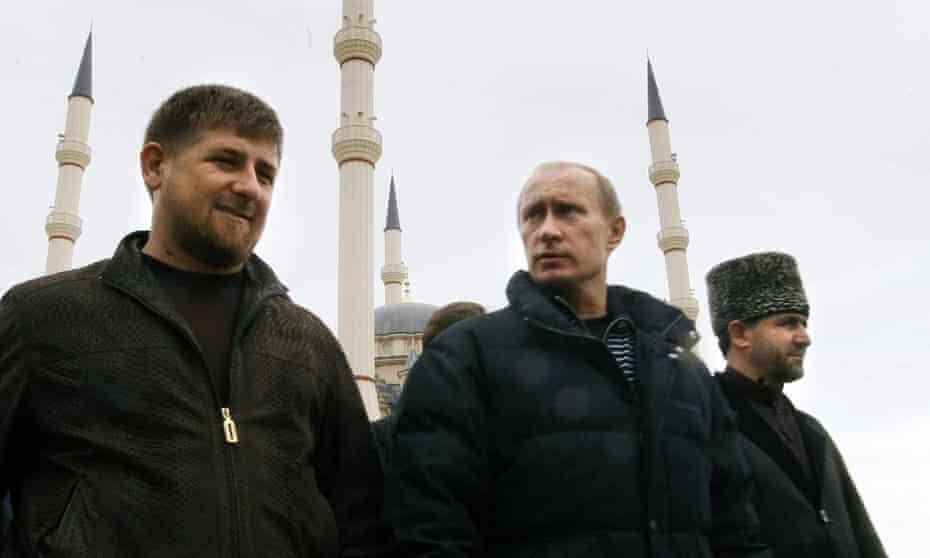 Ramzan Kadyrov and Vladimir Putin in the Chechen capital, Grozny, in 2008.