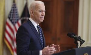 Joe Biden speaks at a press conference.