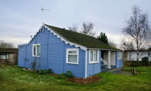 Blue timber beach house at Humberston Fitties Holiday Camp near Cleethorpes, North East Lincolnshire, England.CF59GY Blue timber beach house, Humberston Fitties Holiday Camp near Cleethorpes, North East Lincolnshire, England.