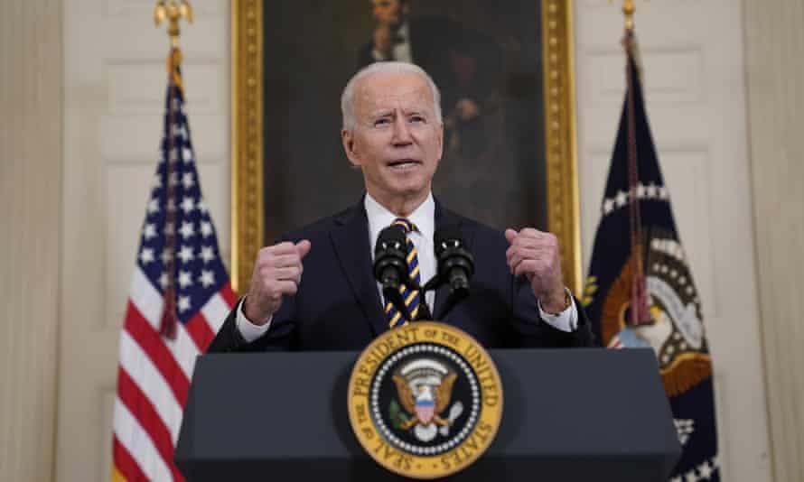 Joe Biden speaks in the State Dining Room of the White House, 24 February 2021.