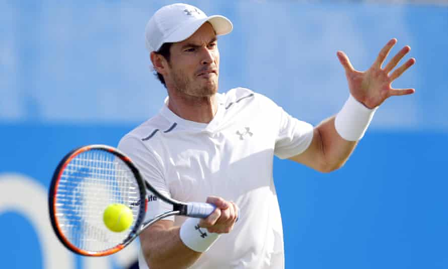 Andy Murray was back on grass and in winning form as he advanced to the second round at Queen's with a straight-sets win over Nicolas Mahut.