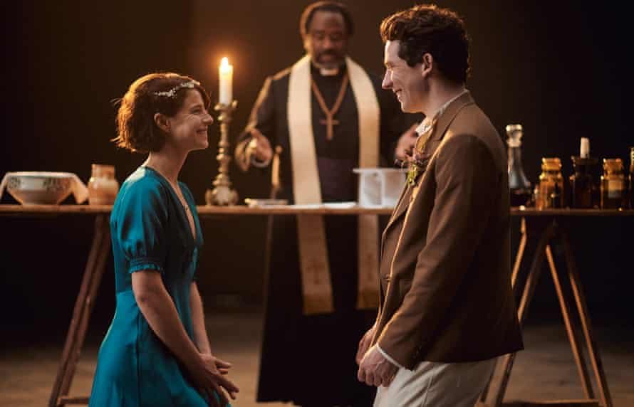 Actors Jessie Buckley, Josh O'Connor and Lucian Msamati in Romeo & Juliet at the National Theatre
