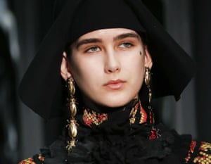 Beetle earring at the Gucci show, A/W 2017, Milan fashion week.