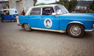 A portrait of the 19th French poet Arthur Rimbaud decorates one of the taxis. Rimbaud was famous as one of the first foreigners to live in Harar – he worked there as a merchant after ending his literary career.