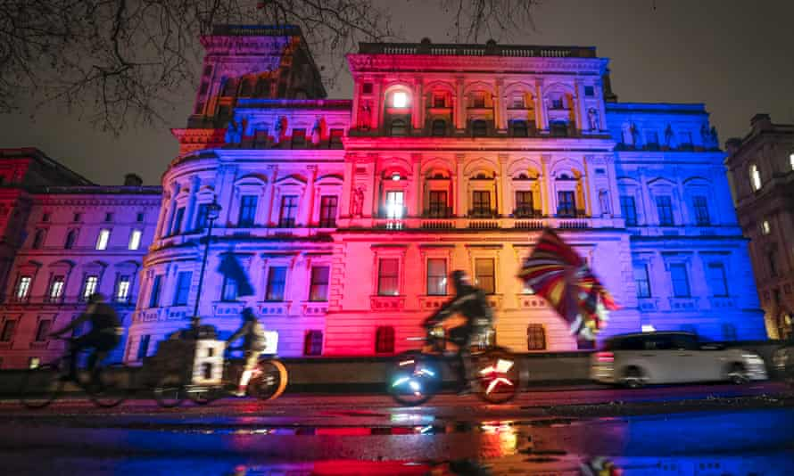The Foreign Office lit up on 31 January when Britain officially left the EU