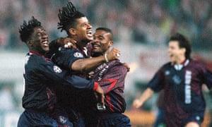Clarence Seedorf, Frank Rijkaard, Winston Bogarde and Jari Litmanen celebrate winning the 1995 Champions League final.