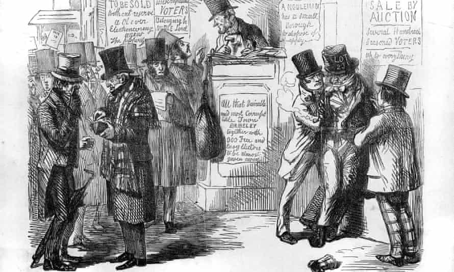 A satirical 1853 illustration entitled 'THE VOTE AUCTION!' commenting on the prevalence of bribery in British parliamentary elections.