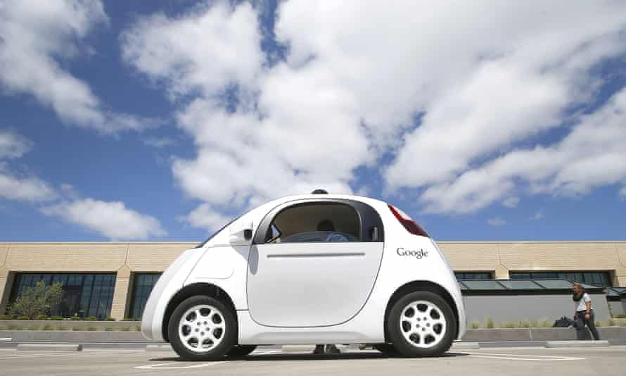 A Google self-driving prototype car at the Google campus in Mountain View, California.