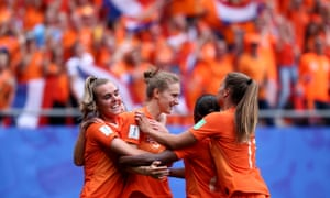 Vivianne Miedema celebrates after scoring the third Netherlands goal.
