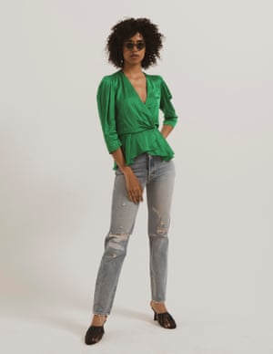 model wears top, £49.99, zara.com. Jeans, £35, asos.com. Sandals, from a selection, by neous.co.uk. Glasses, £175, kaleoscollection.com.