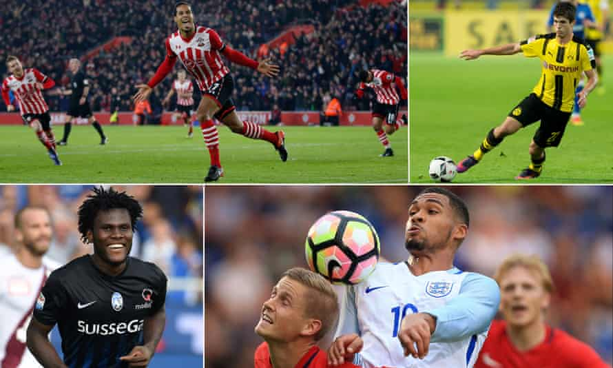 Clockwise from top left: Southampton's Virgil van Dijk, Christian Pulisic of Borussia Dortmund, Chelsea's Ruben Loftus-Cheek and Atalanta's Franck Kessie.